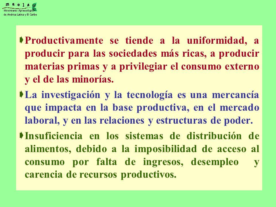 Productivamente se tiende a la uniformidad, a producir para las sociedades más ricas, a producir materias primas y a privilegiar el consumo externo y