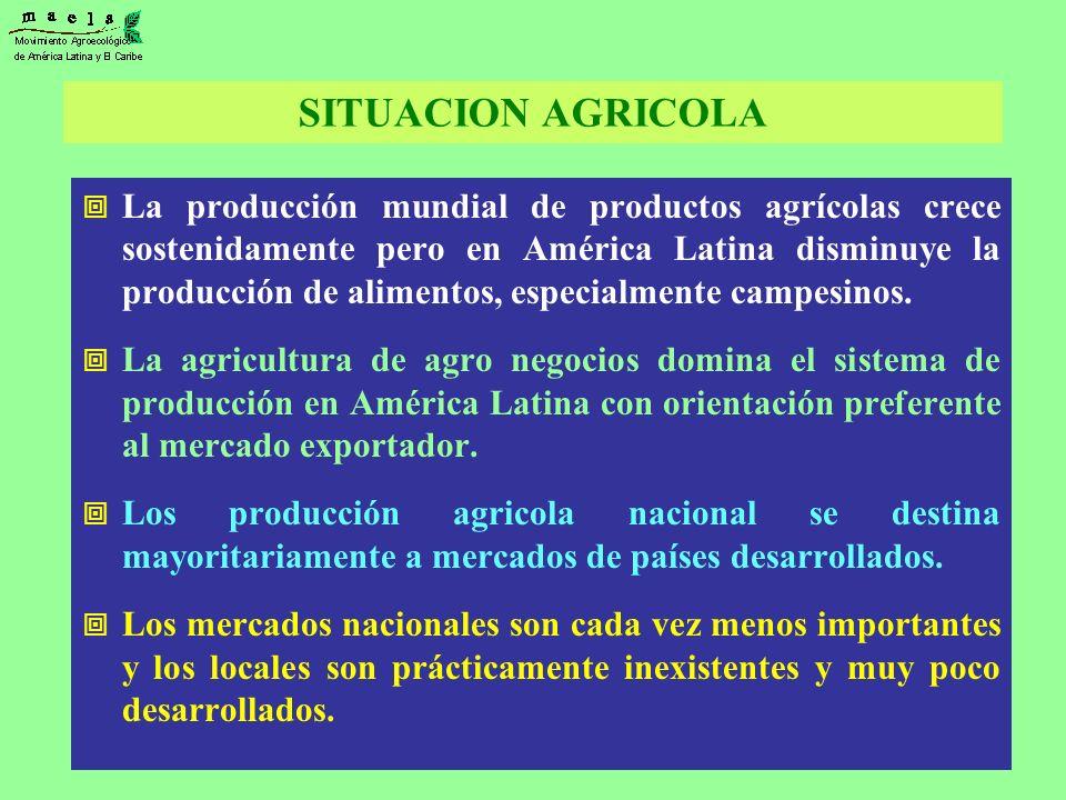 La producción mundial de productos agrícolas crece sostenidamente pero en América Latina disminuye la producción de alimentos, especialmente campesino