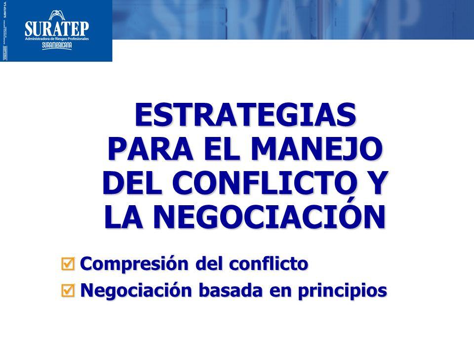 1 ESTRATEGIAS PARA EL MANEJO DEL CONFLICTO Y LA NEGOCIACIÓN Compresión del conflicto Compresión del conflicto Negociación basada en principios Negocia