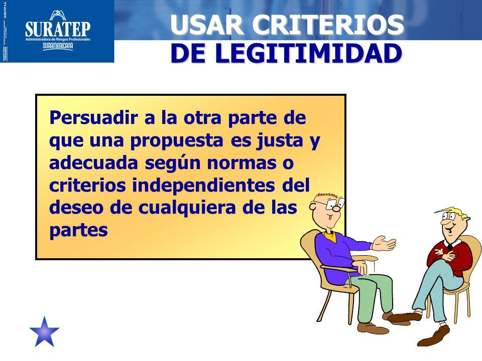 26 USAR CRITERIOS DE LEGITIMIDAD Persuadir a la otra parte de que una propuesta es justa y adecuada según normas o criterios independientes del deseo