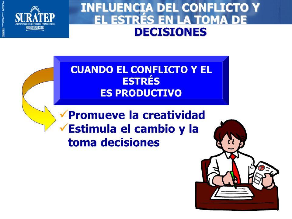 9 CUANDO EL CONFLICTO Y EL ESTRÉS ES PRODUCTIVO Promueve la creatividad Estimula el cambio y la toma decisiones INFLUENCIA DEL CONFLICTO Y EL ESTRÉS E