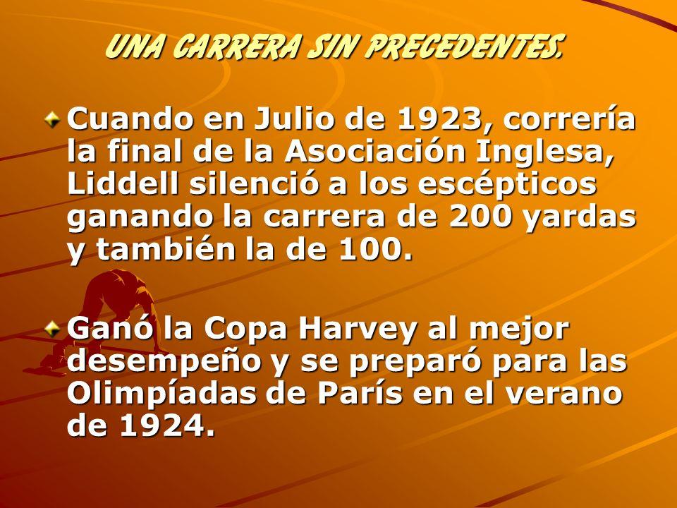 Cuando en Julio de 1923, correría la final de la Asociación Inglesa, Liddell silenció a los escépticos ganando la carrera de 200 yardas y también la d