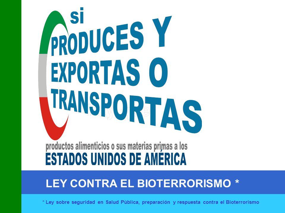 LEY CONTRA EL BIOTERRORISMO * * Ley sobre seguridad en Salud Pública, preparación y respuesta contra el Bioterrorismo