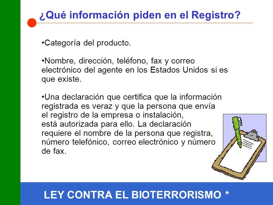 ¿Qué información piden en el Registro.Categoría del producto.