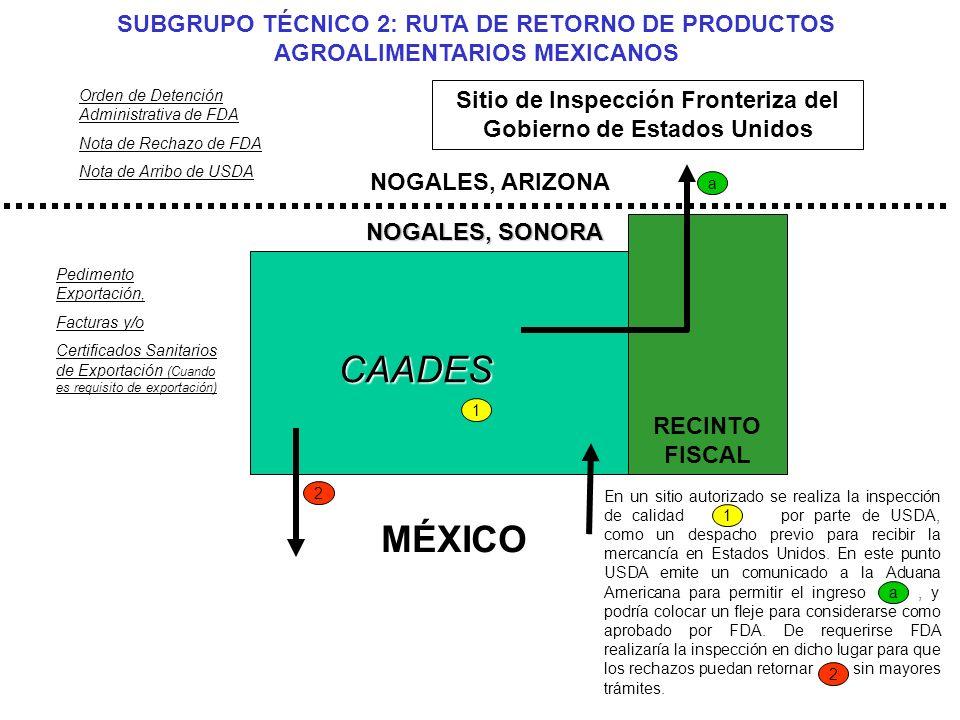 2 2 Orden de Detención Administrativa de FDA Nota de Rechazo de FDA Nota de Arribo de USDA Pedimento Exportación, Facturas y/o Certificados Sanitarios de Exportación (Cuando es requisito de exportación) RECINTO FISCAL CAADES NOGALES, ARIZONA MÉXICO 1 Sitio de Inspección Fronteriza del Gobierno de Estados Unidos En un sitio autorizado se realiza la inspección de calidad por parte de USDA, como un despacho previo para recibir la mercancía en Estados Unidos.