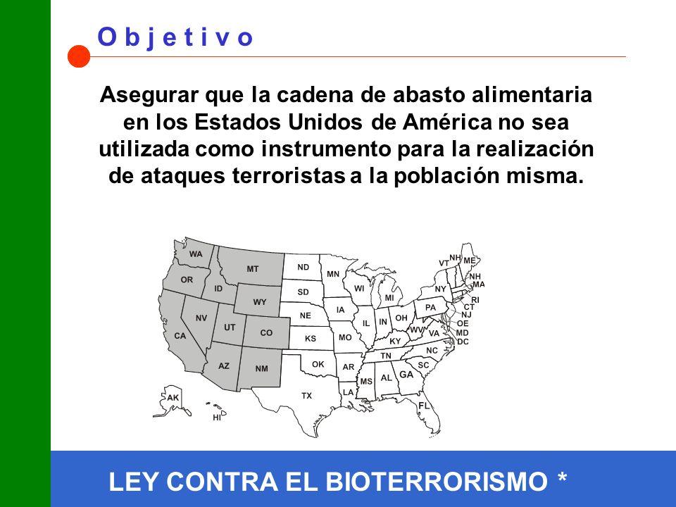 O b j e t i v o Asegurar que la cadena de abasto alimentaria en los Estados Unidos de América no sea utilizada como instrumento para la realización de ataques terroristas a la población misma.