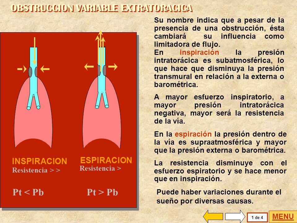 Flujo (l/s) i e Capacidad Vital (litros) 0123456 0 2 4 6 8 10 12 -2 -4 -6 En la obstrucción fija extratorácica se puede realizar un diagnóstico difere