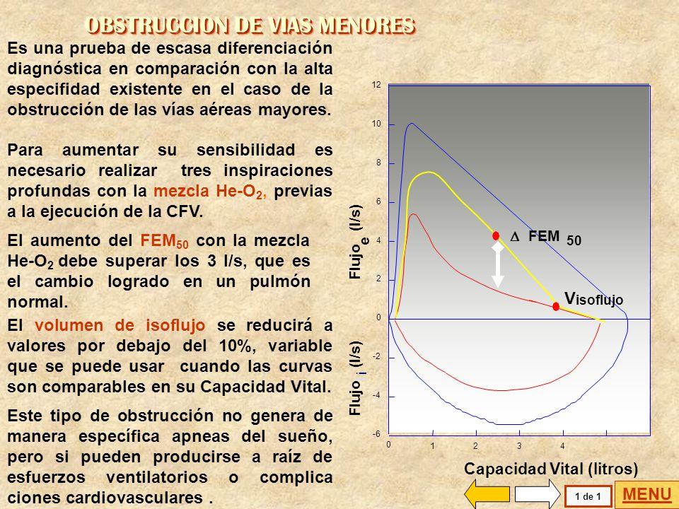 La realización de la CFV con la mezcla Helio-oxígeno permite hacer un diagnóstico diferencial. Flujo (l/s) i e 0123456 0 2 4 6 8 10 12 -2 -4 -6 Capaci