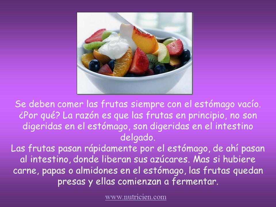 La fruta, es principalmente fructosa (que puede ser transformada con facilidad en glucosa). En la mayoría de las veces es 90-95% agua. Eso significa q