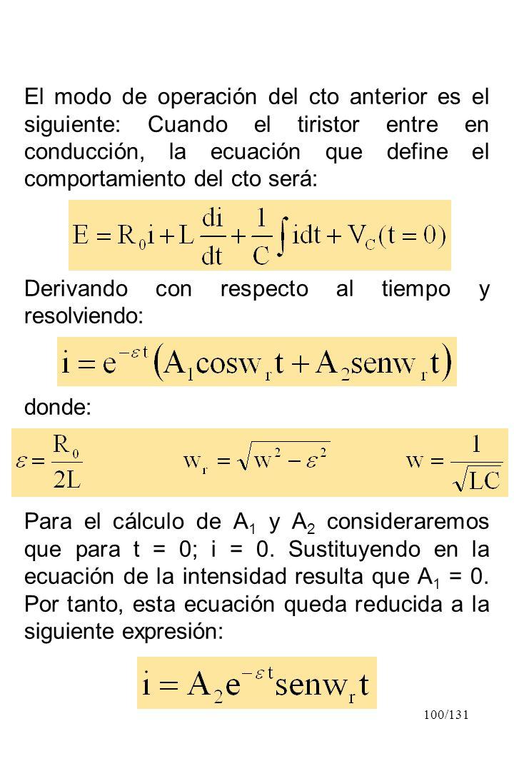 100/131 El modo de operación del cto anterior es el siguiente: Cuando el tiristor entre en conducción, la ecuación que define el comportamiento del ct