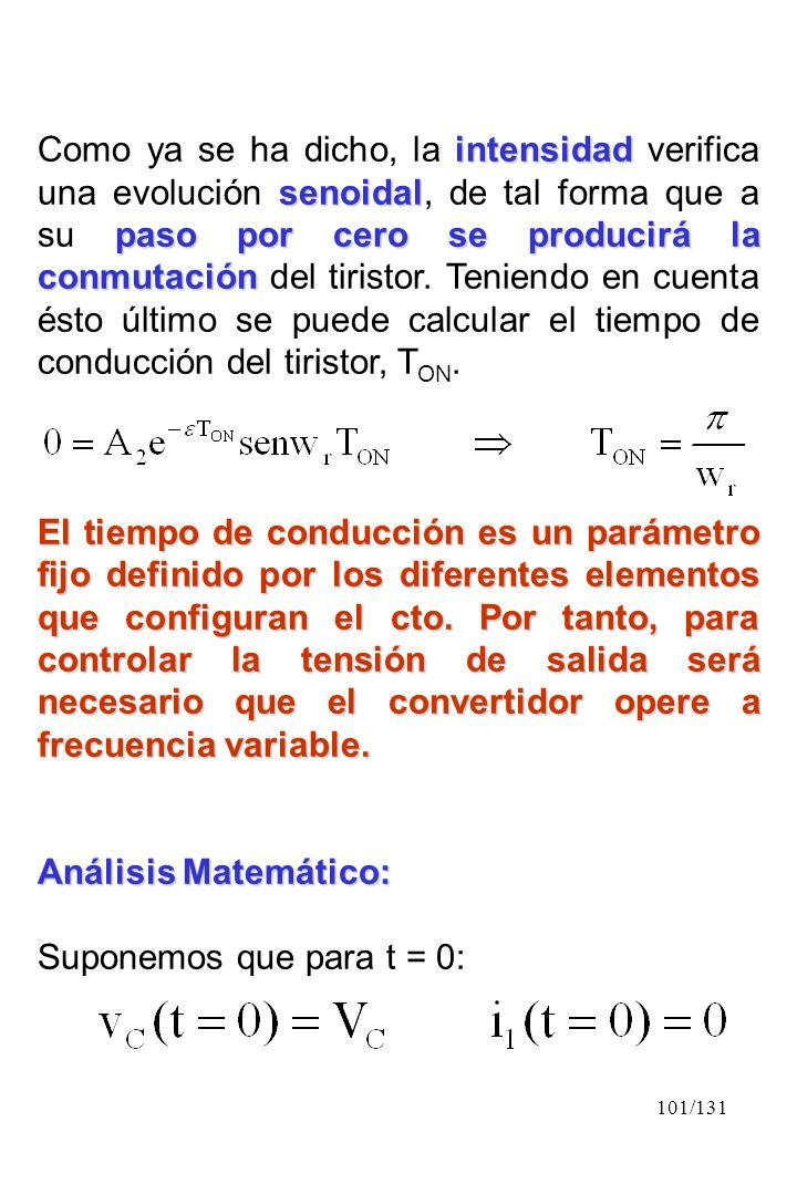 101/131 intensidad senoidal paso por cero se producirá la conmutación Como ya se ha dicho, la intensidad verifica una evolución senoidal, de tal forma