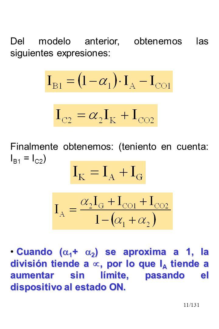 11/131 Del modelo anterior, obtenemos las siguientes expresiones: Finalmente obtenemos: (teniento en cuenta: I B1 = I C2 ) Cuando ( 1 + 2 ) se aproxim