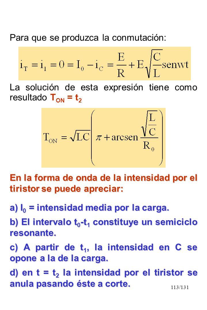 113/131 Para que se produzca la conmutación: La solución de esta expresión tiene como resultado T ON = t 2 En la forma de onda de la intensidad por el