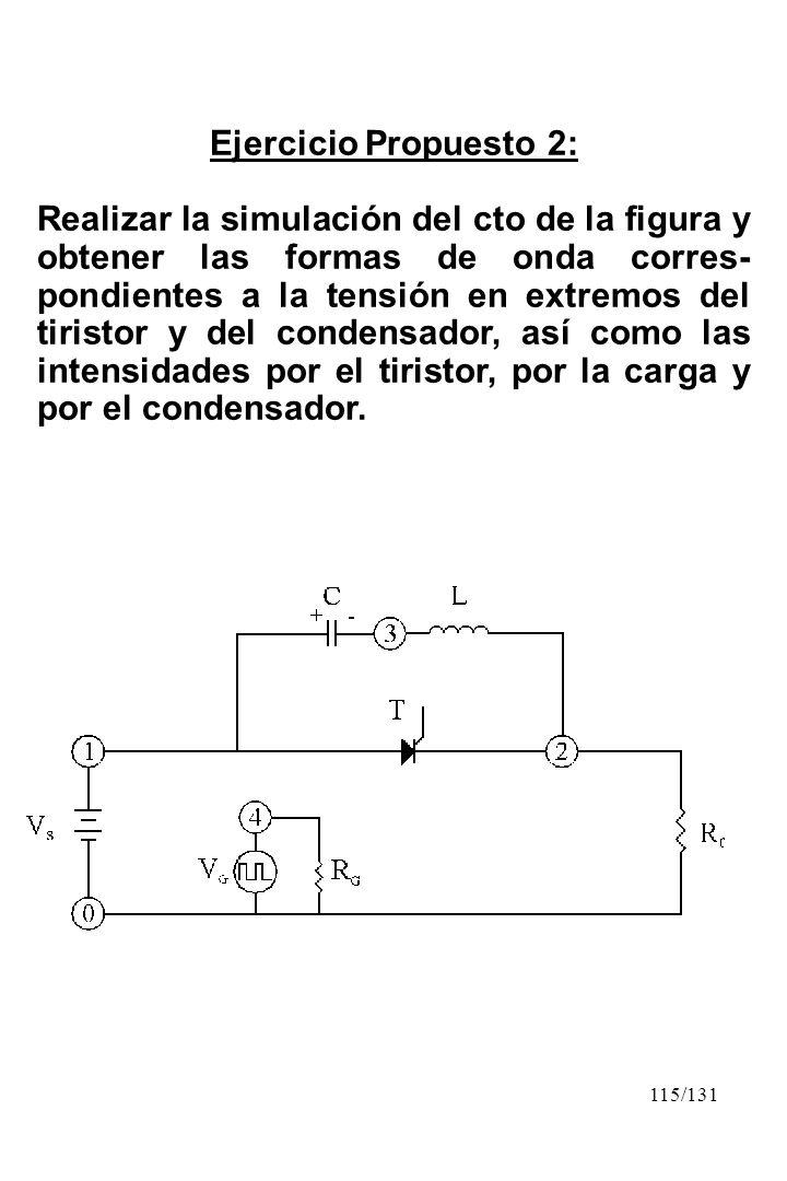 115/131 Ejercicio Propuesto 2: Realizar la simulación del cto de la figura y obtener las formas de onda corres- pondientes a la tensión en extremos de