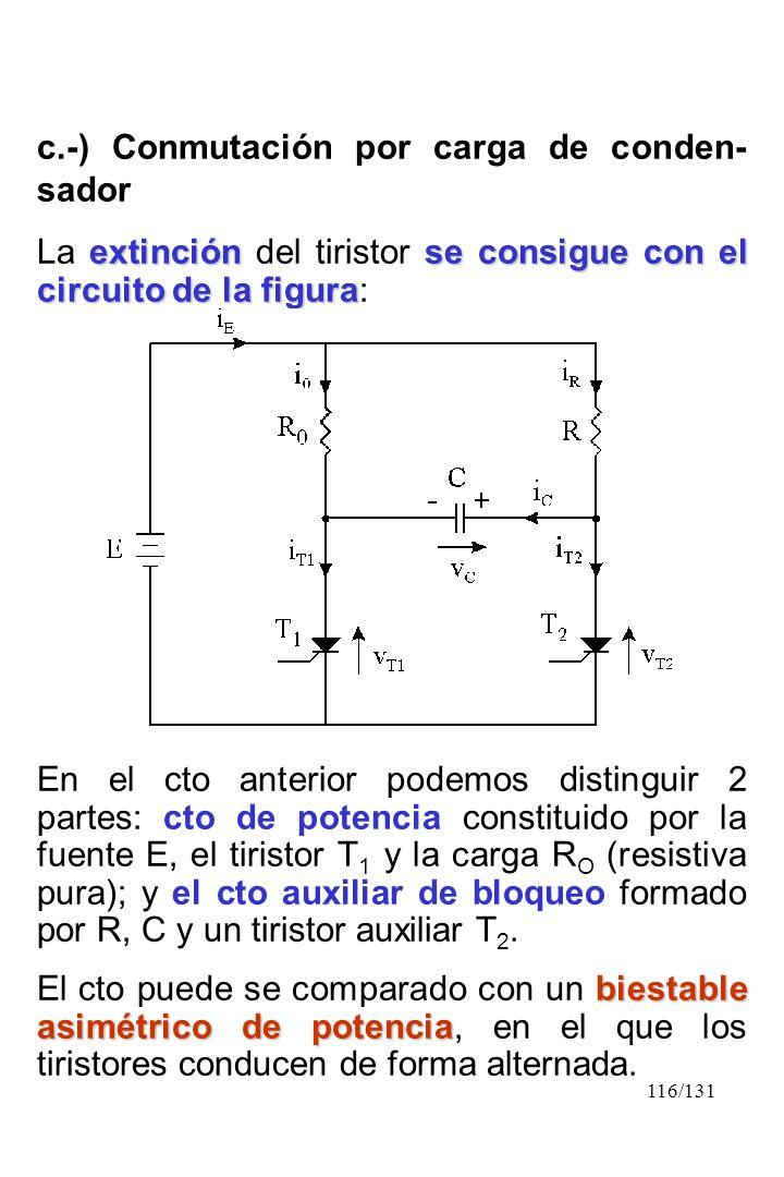 116/131 c.-) Conmutación por carga de conden- sador extinción se consigue con el circuito de la figura La extinción del tiristor se consigue con el ci