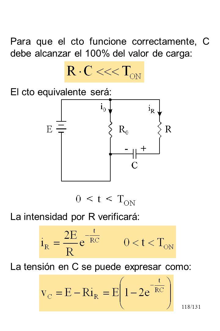 118/131 Para que el cto funcione correctamente, C debe alcanzar el 100% del valor de carga: El cto equivalente será: La intensidad por R verificará: L