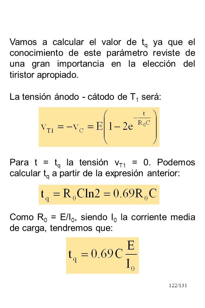 122/131 Vamos a calcular el valor de t q ya que el conocimiento de este parámetro reviste de una gran importancia en la elección del tiristor apropiad