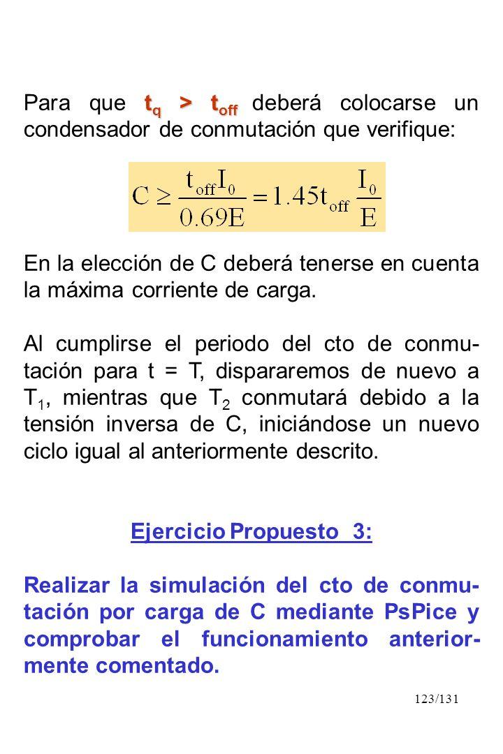 123/131 t q > t off Para que t q > t off deberá colocarse un condensador de conmutación que verifique: En la elección de C deberá tenerse en cuenta la