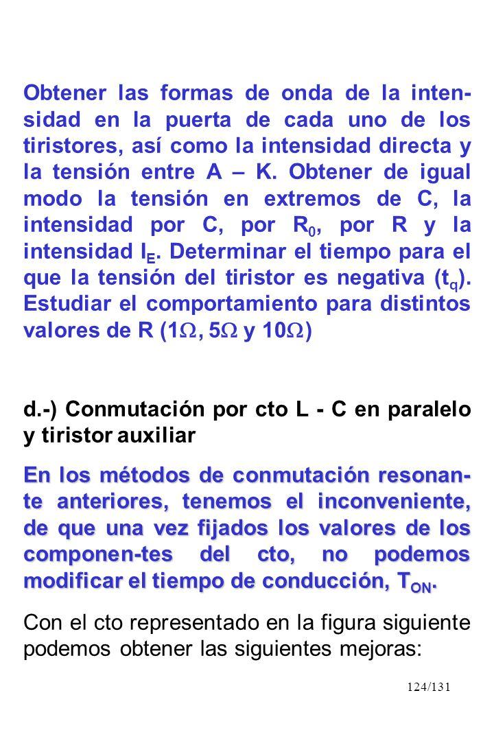 124/131 Obtener las formas de onda de la inten- sidad en la puerta de cada uno de los tiristores, así como la intensidad directa y la tensión entre A
