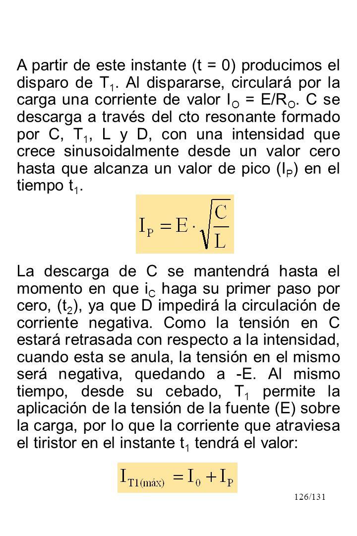 126/131 A partir de este instante (t = 0) producimos el disparo de T 1. Al dispararse, circulará por la carga una corriente de valor I O = E/R O. C se