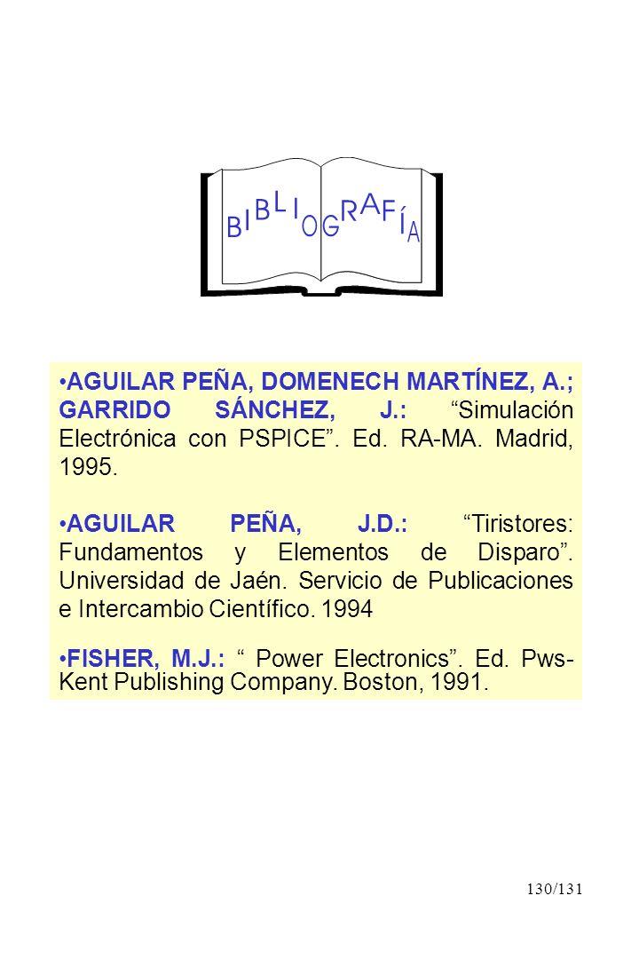130/131 AGUILAR PEÑA, DOMENECH MARTÍNEZ, A.; GARRIDO SÁNCHEZ, J.: Simulación Electrónica con PSPICE. Ed. RA-MA. Madrid, 1995. AGUILAR PEÑA, J.D.: Tiri