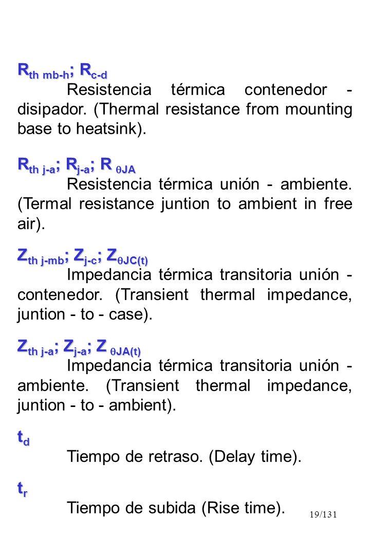 19/131 R th mb-h ; R c-d Resistencia térmica contenedor - disipador. (Thermal resistance from mounting base to heatsink). R th j-a ; R j-a ; R JA Resi