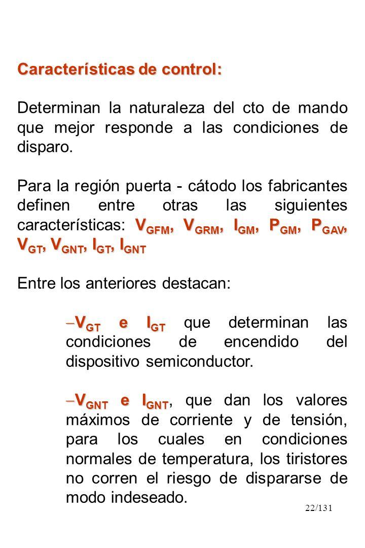 22/131 Características de control: Determinan la naturaleza del cto de mando que mejor responde a las condiciones de disparo. V GFM, V GRM, I GM, P GM