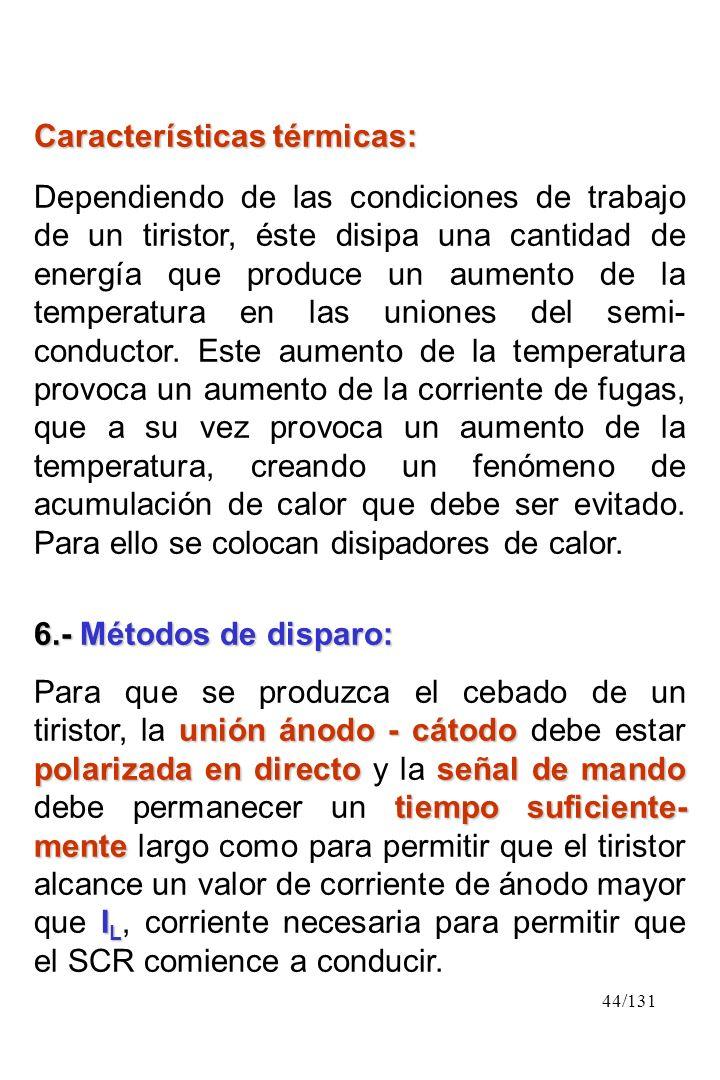 44/131 Características térmicas: Dependiendo de las condiciones de trabajo de un tiristor, éste disipa una cantidad de energía que produce un aumento