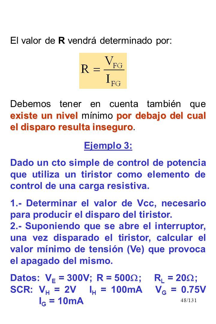 48/131 El valor de R vendrá determinado por: existe un nivelpor debajo del cual el disparo resulta inseguro Debemos tener en cuenta también que existe