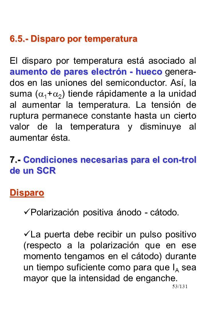 53/131 6.5.- Disparo por temperatura aumento de pares electrón - hueco El disparo por temperatura está asociado al aumento de pares electrón - hueco g