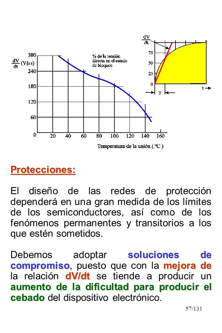 57/131 Protecciones: El diseño de las redes de protección dependerá en una gran medida de los límites de los semiconductores, así como de los fenómeno