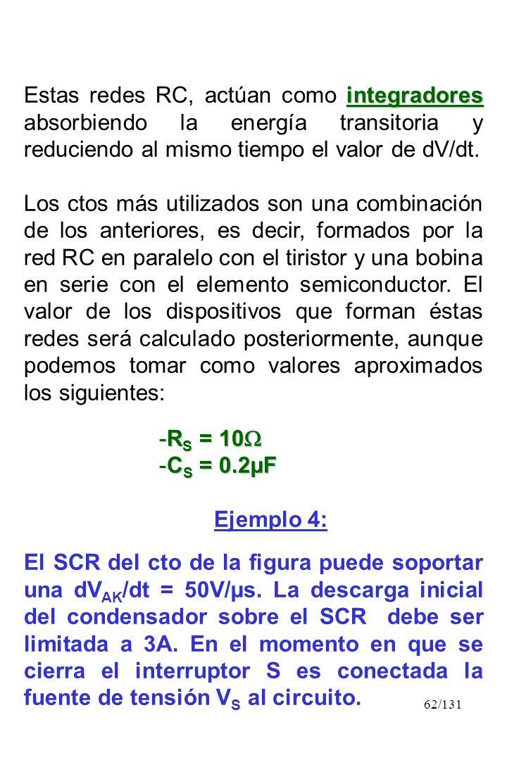 62/131 integradores Estas redes RC, actúan como integradores absorbiendo la energía transitoria y reduciendo al mismo tiempo el valor de dV/dt. Los ct