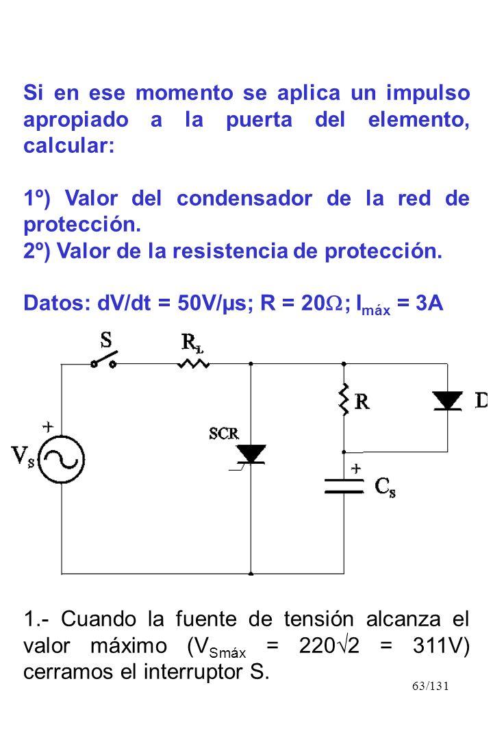63/131 Si en ese momento se aplica un impulso apropiado a la puerta del elemento, calcular: 1º) Valor del condensador de la red de protección. 2º) Val