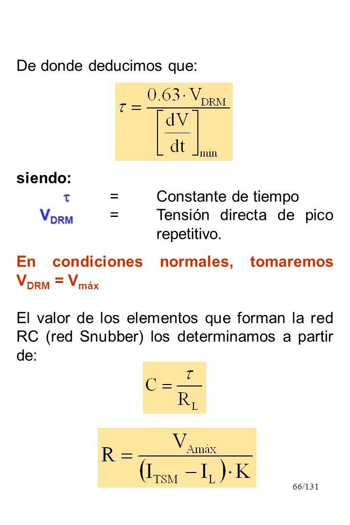 66/131 De donde deducimos que: siendo: =Constante de tiempo V DRM V DRM =Tensión directa de pico repetitivo. En condiciones normales, tomaremos V DRM