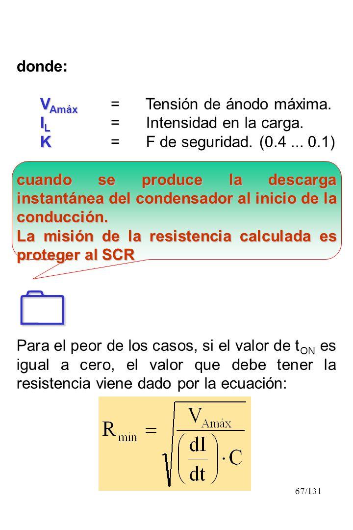 67/131 donde: V Amáx V Amáx = Tensión de ánodo máxima. I L I L = Intensidad en la carga. K K= F de seguridad. (0.4... 0.1) cuando se produce la descar