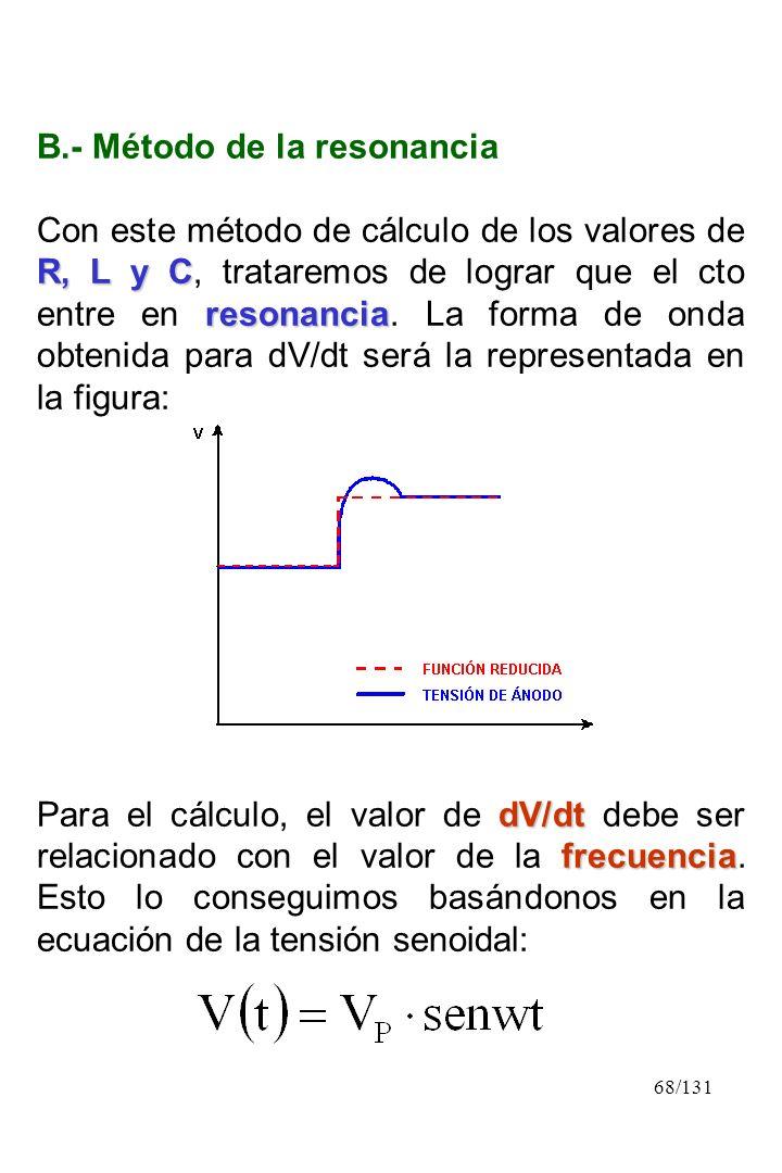 68/131 B.- Método de la resonancia R, L y C resonancia Con este método de cálculo de los valores de R, L y C, trataremos de lograr que el cto entre en