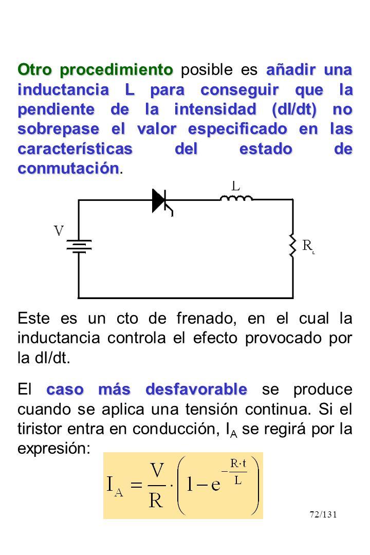 72/131 Otro procedimientoañadir una inductancia L para conseguir que la pendiente de la intensidad (dI/dt) no sobrepase el valor especificado en las c