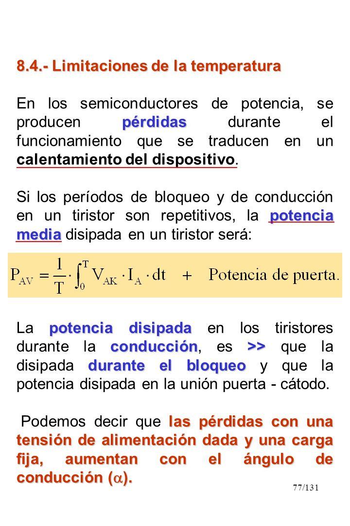 77/131 8.4.- Limitaciones de la temperatura pérdidas En los semiconductores de potencia, se producen pérdidas durante el funcionamiento que se traduce