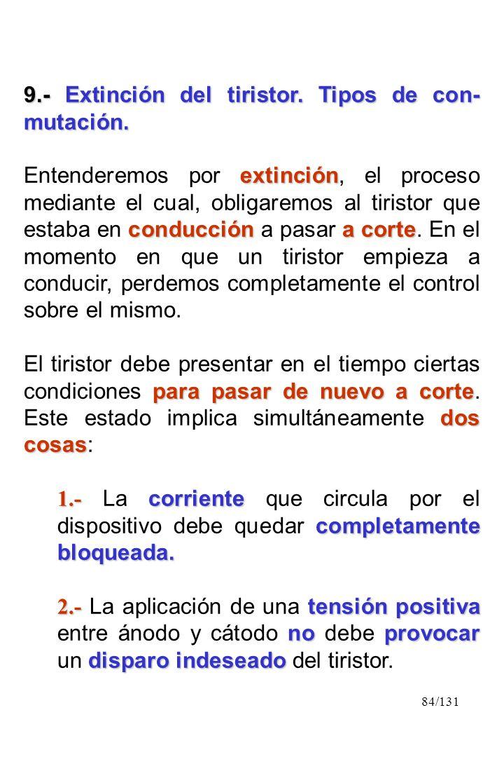 84/131 9.- Extinción del tiristor. Tipos de con- mutación. extinción conduccióna corte Entenderemos por extinción, el proceso mediante el cual, obliga