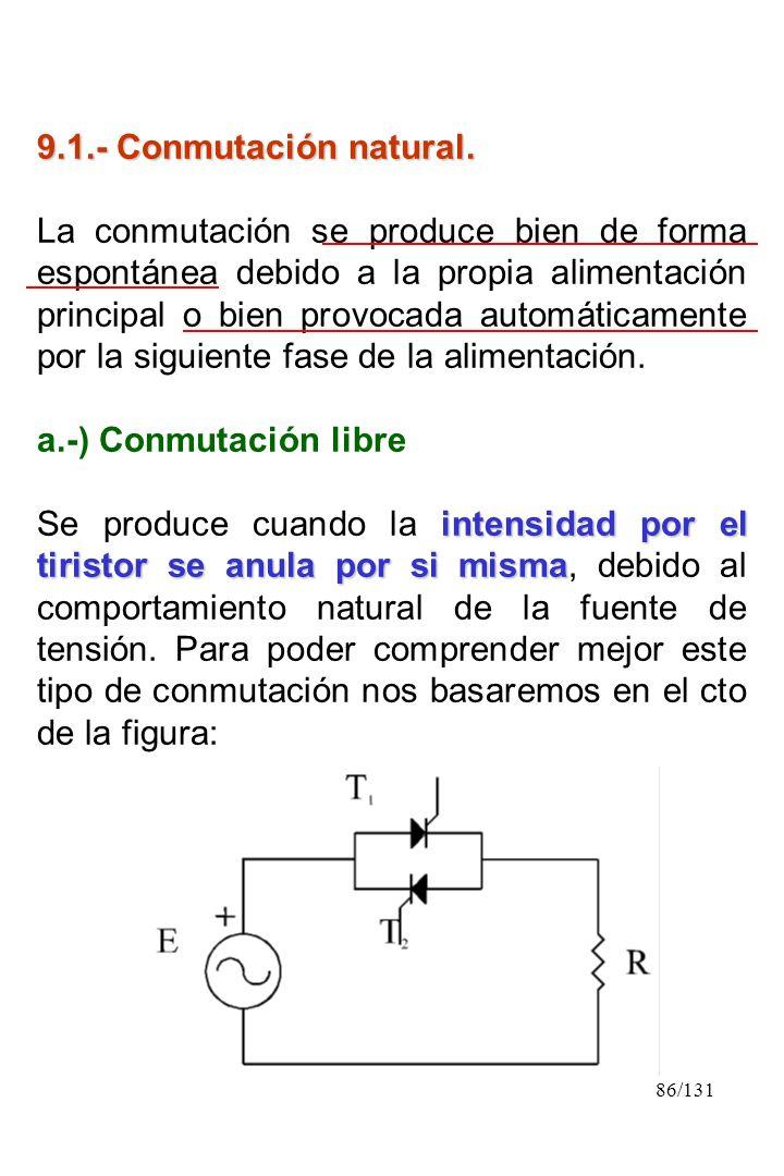 86/131 9.1.- Conmutación natural. La conmutación se produce bien de forma espontánea debido a la propia alimentación principal o bien provocada automá