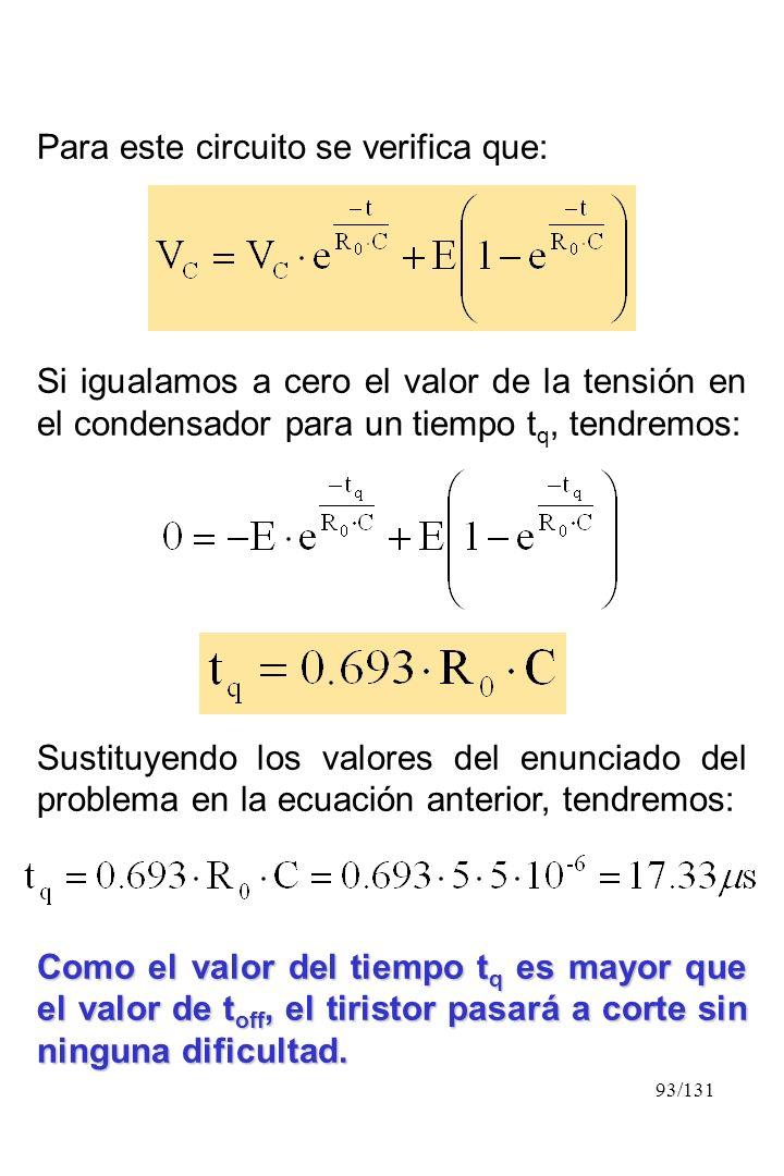 93/131 Para este circuito se verifica que: Si igualamos a cero el valor de la tensión en el condensador para un tiempo t q, tendremos: Sustituyendo lo