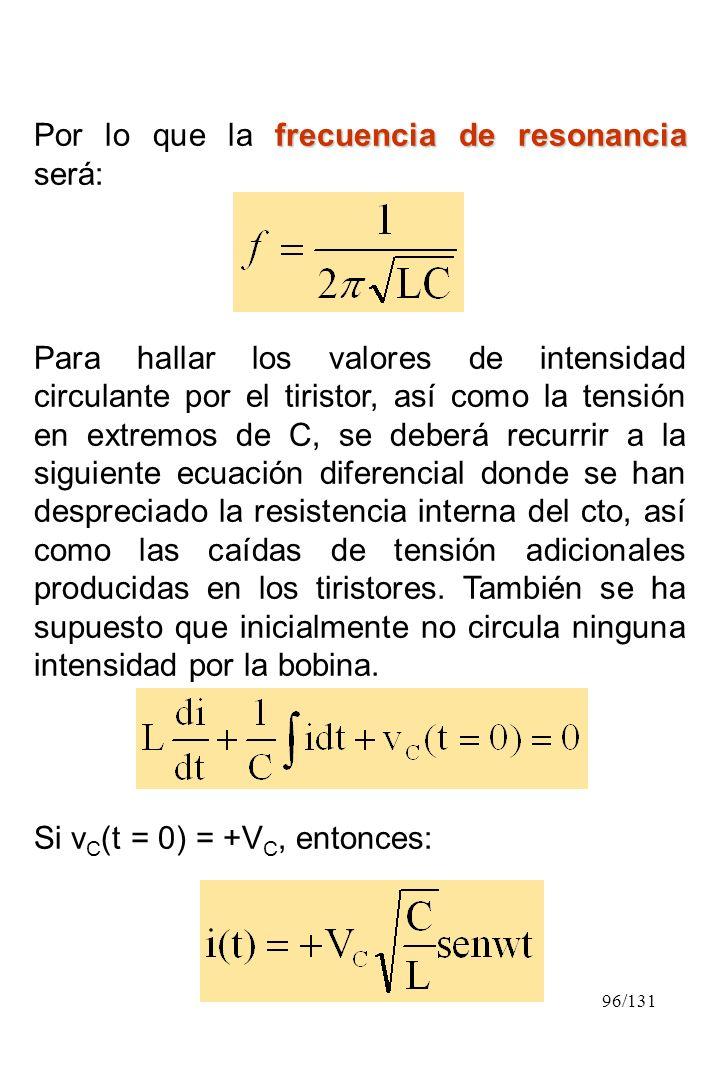 96/131 frecuencia de resonancia Por lo que la frecuencia de resonancia será: Para hallar los valores de intensidad circulante por el tiristor, así com