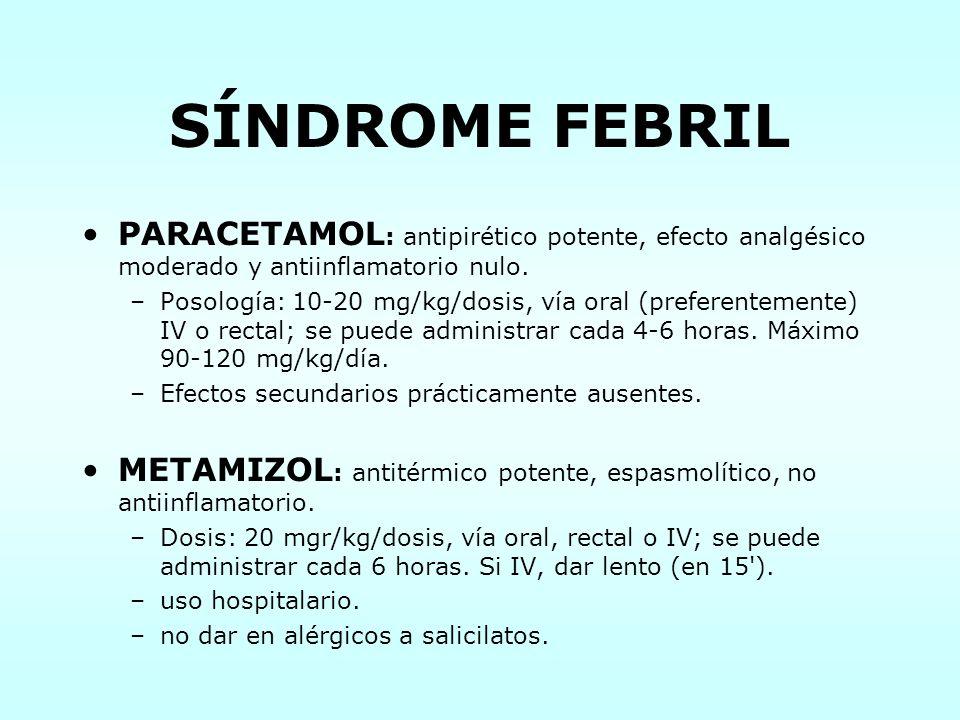SÍNDROME FEBRIL PARACETAMOL : antipirético potente, efecto analgésico moderado y antiinflamatorio nulo. –Posología: 10-20 mg/kg/dosis, vía oral (prefe