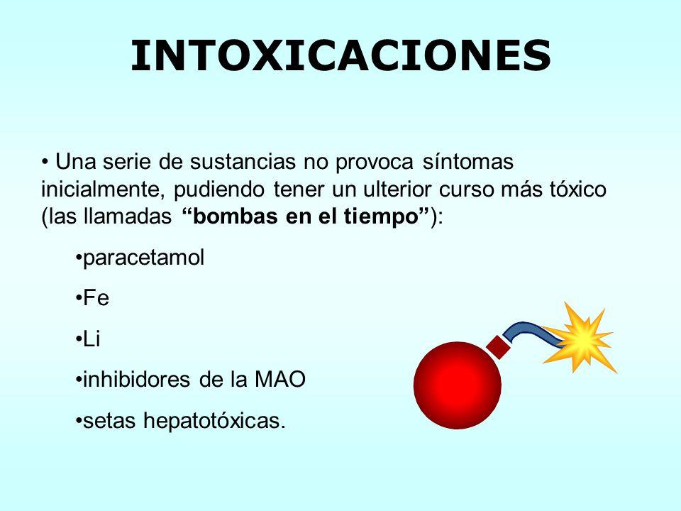Una serie de sustancias no provoca síntomas inicialmente, pudiendo tener un ulterior curso más tóxico (las llamadas bombas en el tiempo): paracetamol