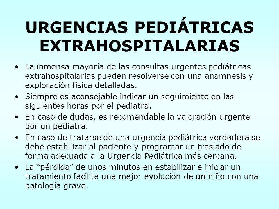 URGENCIAS PEDIÁTRICAS EXTRAHOSPITALARIAS La inmensa mayoría de las consultas urgentes pediátricas extrahospitalarias pueden resolverse con una anamnes