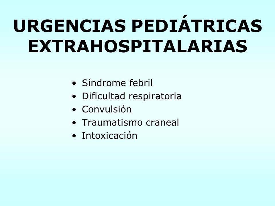 URGENCIAS PEDIÁTRICAS EXTRAHOSPITALARIAS Síndrome febril Dificultad respiratoria Convulsión Traumatismo craneal Intoxicación