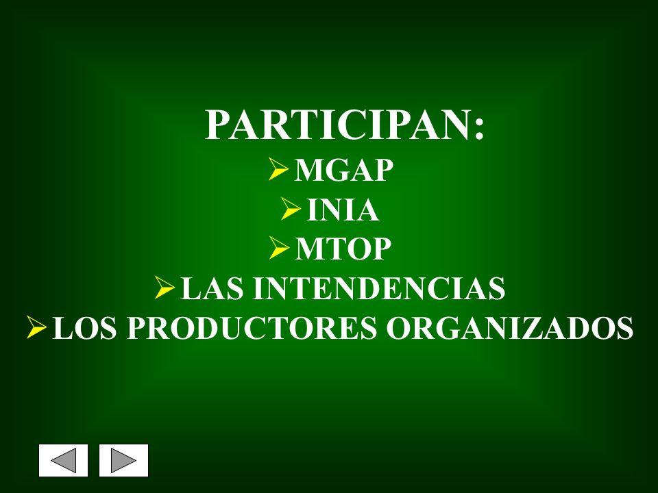 PARTICIPAN: MGAP INIA MTOP LAS INTENDENCIAS LOS PRODUCTORES ORGANIZADOS