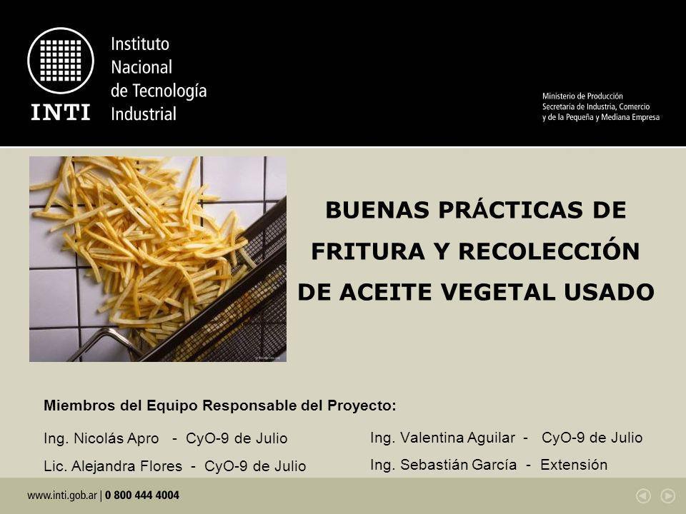 El presente proyecto está vinculado al proyecto Unidad productiva tipo de producción de biodiesel a partir de aceite vegetal reciclado.