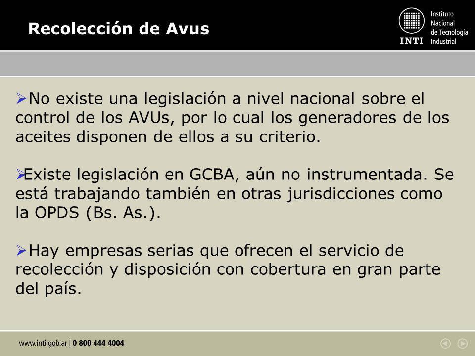 Recolección de Avus No existe una legislación a nivel nacional sobre el control de los AVUs, por lo cual los generadores de los aceites disponen de ellos a su criterio.