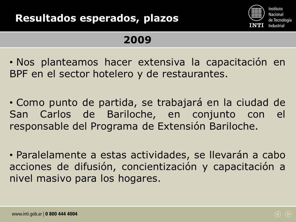 Resultados esperados, plazos 2009 Nos planteamos hacer extensiva la capacitación en BPF en el sector hotelero y de restaurantes.